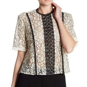 Nanette Lepore Ivory and Black Lace Blouse Size S